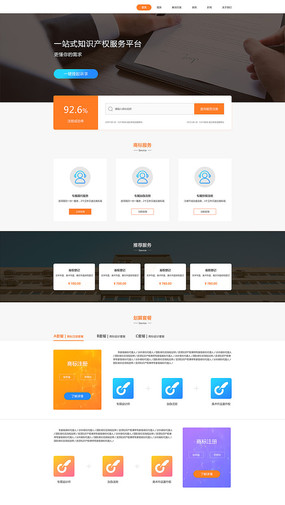 互联网知识产权保护平台UI页面设计 PSD