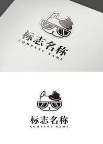 卡通线条狗狗标志