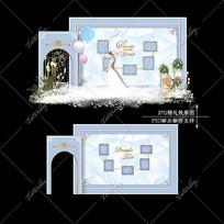 蓝白色大理石婚礼效果图设计婚庆迎宾区背景