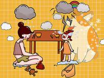 原创卡通插画孩子幻想养宠物