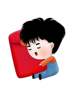 原创可爱卡通抱着红包小孩