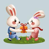原创可爱拿礼盒的一对兔子