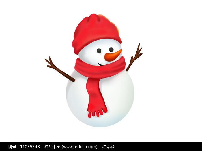 原创手绘插画冬天圣诞节雪人素材PSD图片