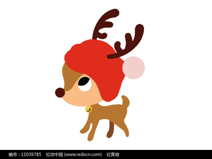 原创手绘插画圣诞节可爱驯鹿素材PSD图片