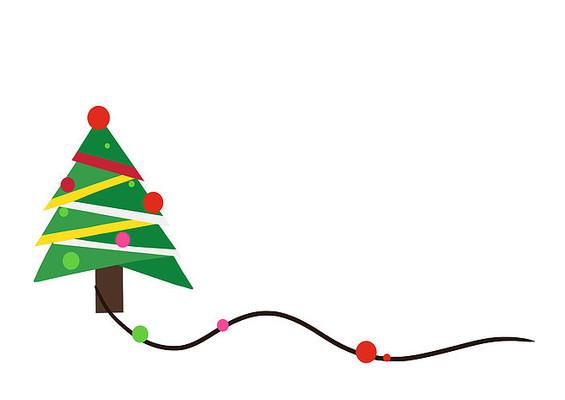 原创手绘插画圣诞节圣诞树素材PSD