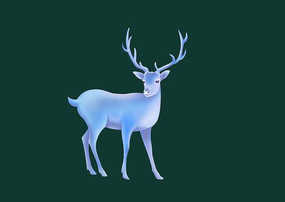原创手绘插画圣诞节小鹿素材PSD