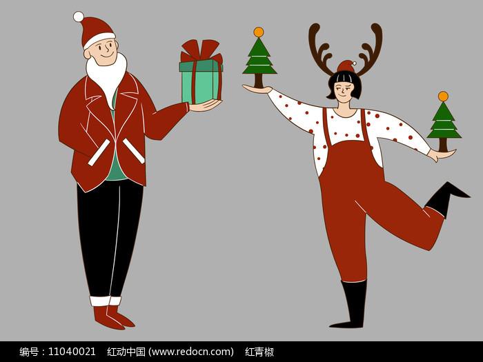 原创手绘插画圣诞老人拿礼物素材PSD图片