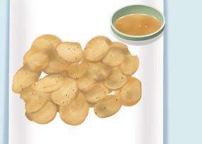 原创手绘插画食物炸薯片下午茶元素