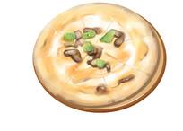 原创手绘插画下午茶披萨食物美食元素