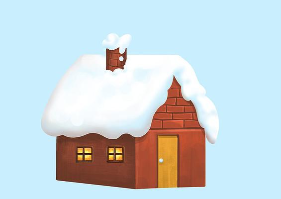 原创手绘冬天雪景圣诞节小房子素材PSD