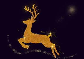 原创手绘金色圣诞节驯鹿素材PSD