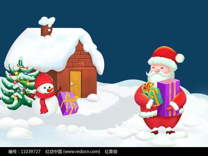 原创手绘卡通圣诞老人发放礼物雪景PSD图片