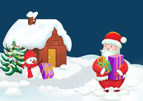 原创手绘卡通圣诞老人发放礼物雪景PSD
