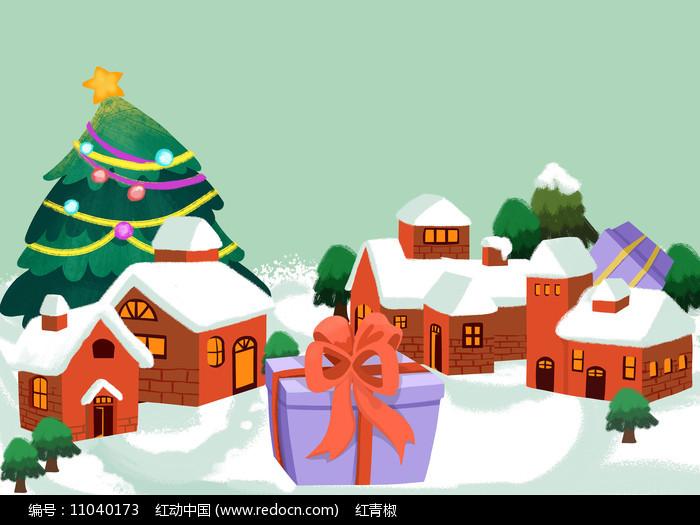 原创手绘卡通圣诞树雪景房子素材PSD图片