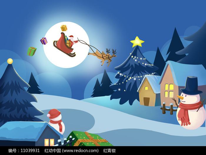 原创手绘卡通圣诞夜景雪景雪人房子PSD图片