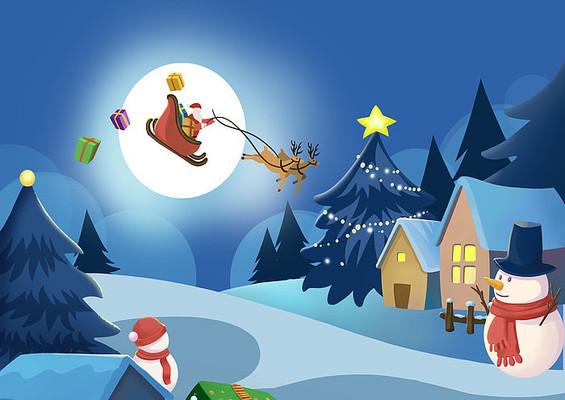 原创手绘卡通圣诞夜景雪景雪人房子PSD