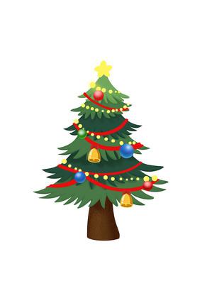 原创手绘圣诞节彩灯圣诞树素材PSD
