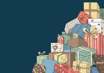 原创手绘圣诞节礼物礼盒可拆分素材PSD