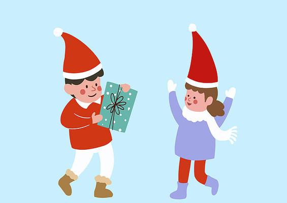 原创手绘圣诞节男孩女孩送礼物PSD