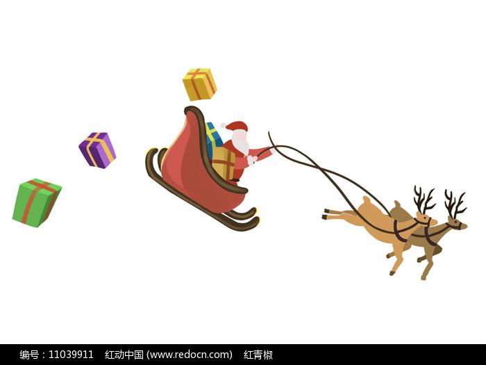 原创手绘圣诞节圣诞老人驯鹿礼物素材PSD图片
