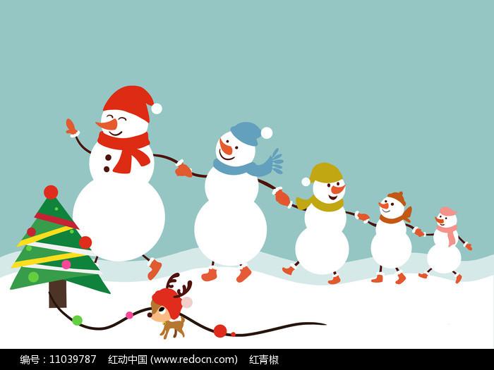 原创手绘圣诞节雪人牵手卡通素材PSD图片