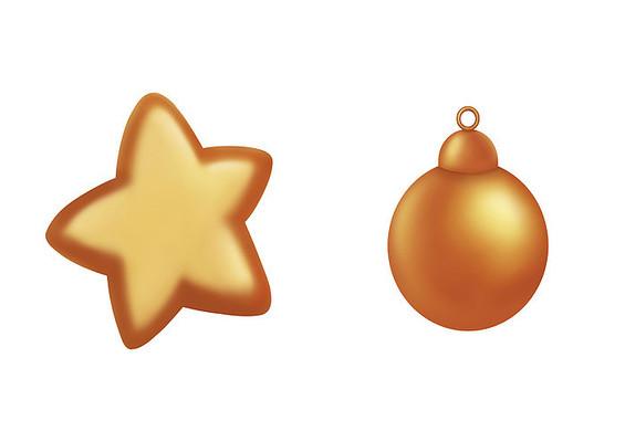 原创手绘手绘圣诞节金色装饰素材PSD