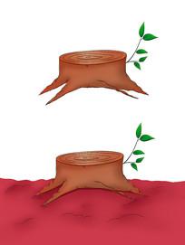 原创手绘树墩木头