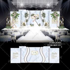 白蓝色婚礼效果图设计大理石婚庆舞台背景