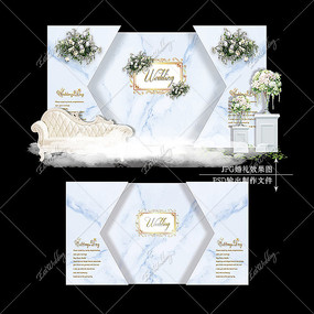 白蓝色婚礼效果图设计大理石婚庆迎宾区背景