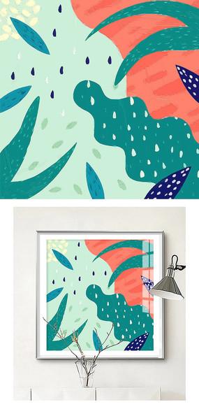 北欧抽象手绘简约油画客厅装饰画