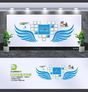 蓝色创意企业文化墙照片墙