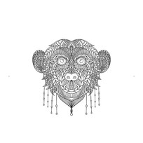 原创猴子黑白线条插画