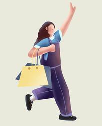 原创手绘插画人物美女购物扁平插画元素