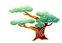 原创手绘中国风新年海报松树素材PSD