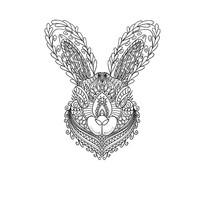 原创兔子黑白线条插画