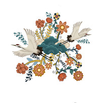 原创中国风丹顶鹤花色纹样