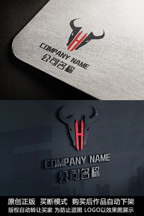 创意牛H字母logo标志