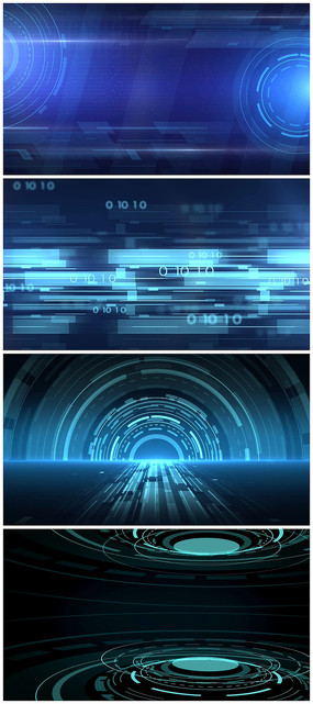蓝色高科技感线条空间新闻演播室视频模板