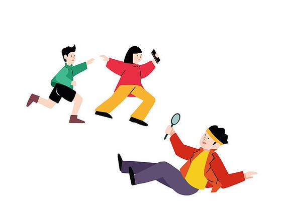 原创手绘奔跑的人物插画素材PSD