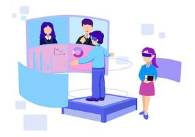 原创手绘科技VR场景设备素材PSD