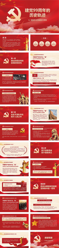 党政党建建党99周年的历史轨迹PPT模板