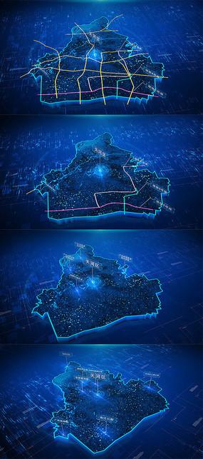 大气科技党政区位地图AE模板