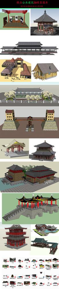 公共建筑城门小品SU模型