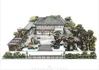 私人别墅庭院花园设计效果图