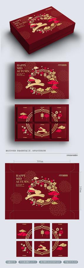 原创红色插画高档中秋月饼包装礼盒