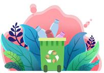 原创户外垃圾分类可回收垃圾桶素材PSD