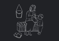 原创手绘黑板风感恩节母子粉笔画素材PSD