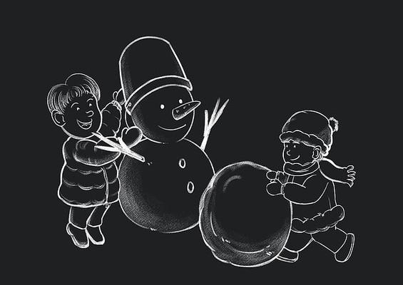 原创手绘黑板风小男孩堆雪人PSD