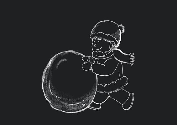原创手绘黑板风小男孩滚雪球素材PSD