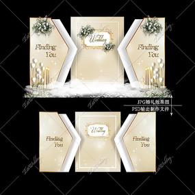 香槟色婚礼效果图设计白金色婚庆迎宾区背景